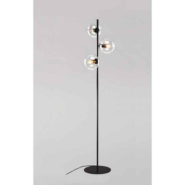 LUNA 102 Podna Lampa 3*E14 (Black/Clear) Glass
