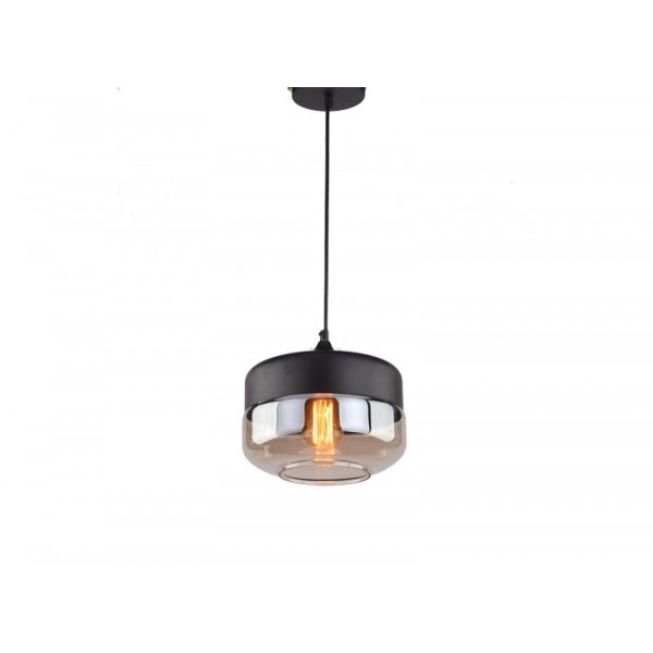 LUNA 77 Visilica 1*E27 (Black/Cognac Glass)